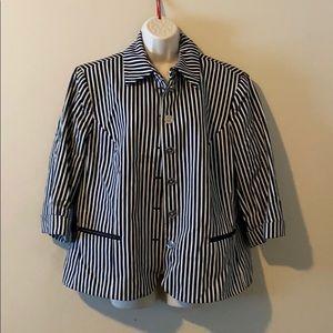 Black & white striped Chaps Blazer Jacket 2X